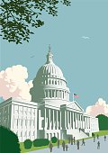 The Capitol Building, Washington DC in traditional retro crosshatch style EPS 10 file, CS5 version in zip.