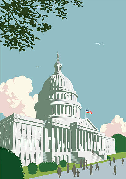 capitol building in washington dc - inauguration stock illustrations