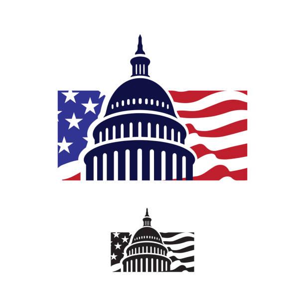 ilustrações, clipart, desenhos animados e ícones de logotipo do edifício do capitólio. sinal criativo gráfico do marco. - capitel