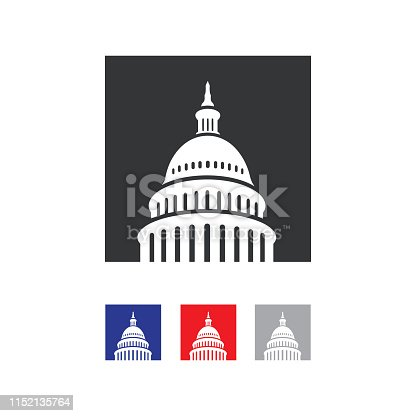 Capitol building logo. Government icon. Premium design. Iconic Vector thin line on white background.  Capitol style symbol. Landmark graphic creative sign.