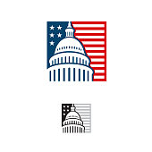 Capitol building logo. Government icon. Premium design. Iconic Vector thin line on white background. \nCapitol style symbol. Landmark graphic creative sign.