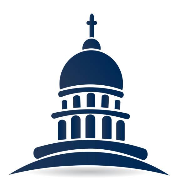 Capitol building temple icon vector design Capitol building temple icon vector design blue template cupola stock illustrations