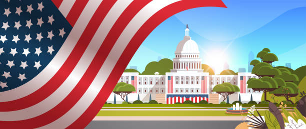 capitol building washington D.C. USA presidential inauguration day celebration concept greeting card capitol building washington D.C. USA presidential inauguration day celebration concept greeting card horizontal banner vector illustration inauguration stock illustrations