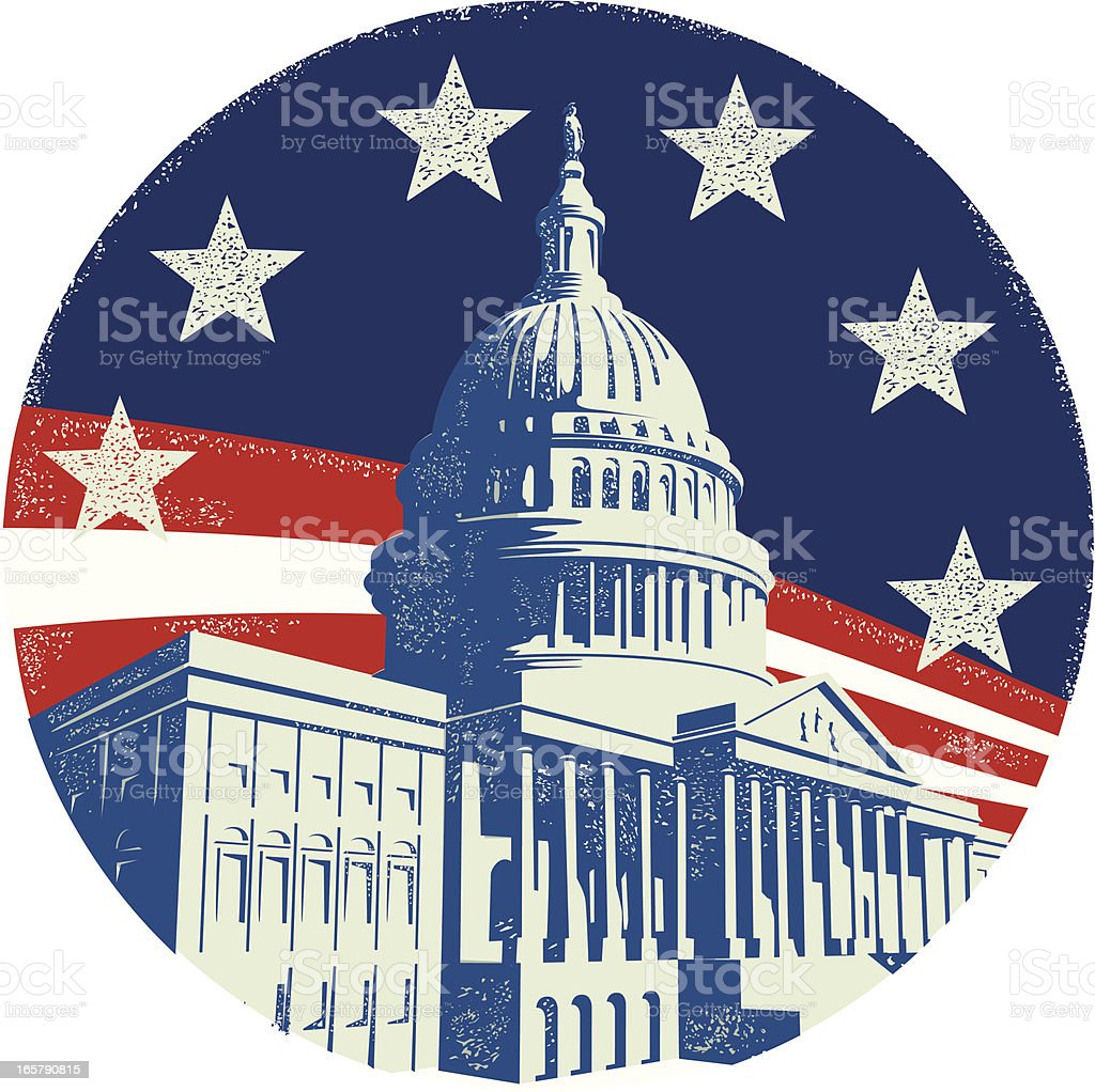 Capitol Building with stars and stripes royalty-free stock vector art