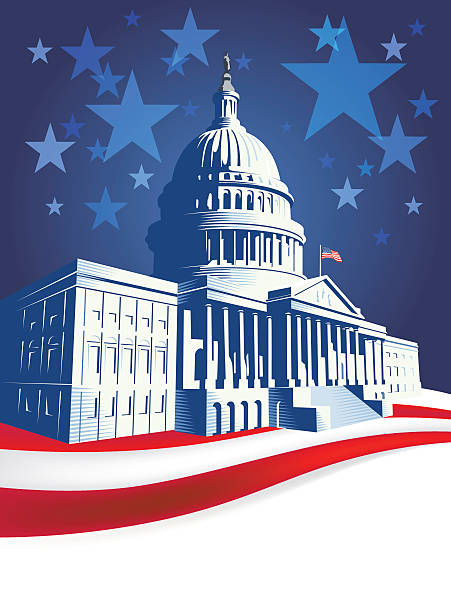 capitol building with stars and stripes - inauguration stock illustrations