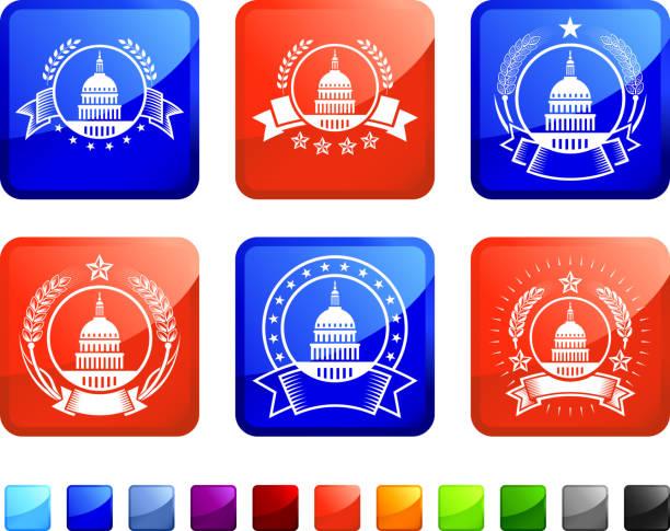 capitol hill badges lizenzfreie vektor icon set aufkleber - abgeordnetenhaus stock-grafiken, -clipart, -cartoons und -symbole