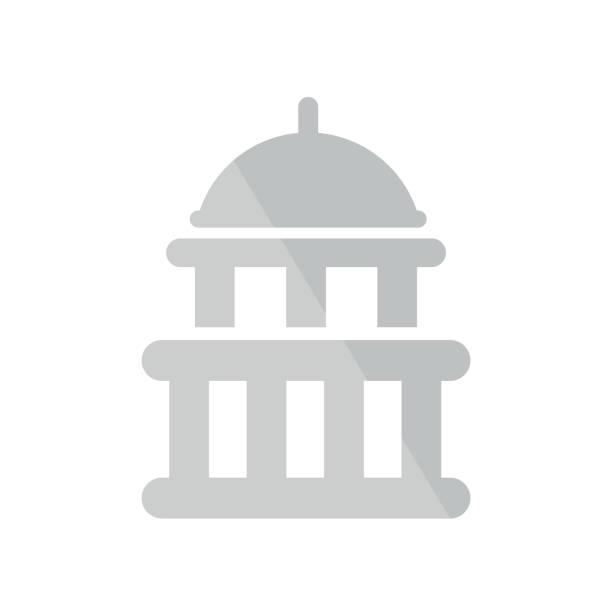 ilustrações, clipart, desenhos animados e ícones de capitol ícone vector sinal e símbolo isolado no fundo branco, conceito de logotipo do capitólio - capitel