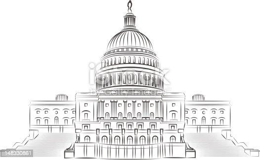 Capitol Outline Vector Illustration Stock Vector Art