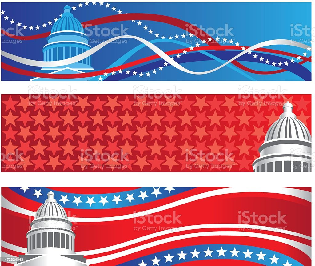 Capitol Political Rally Banners vector art illustration