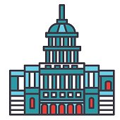 Capitol usa flat line illustration, concept vector icon isolated on white background