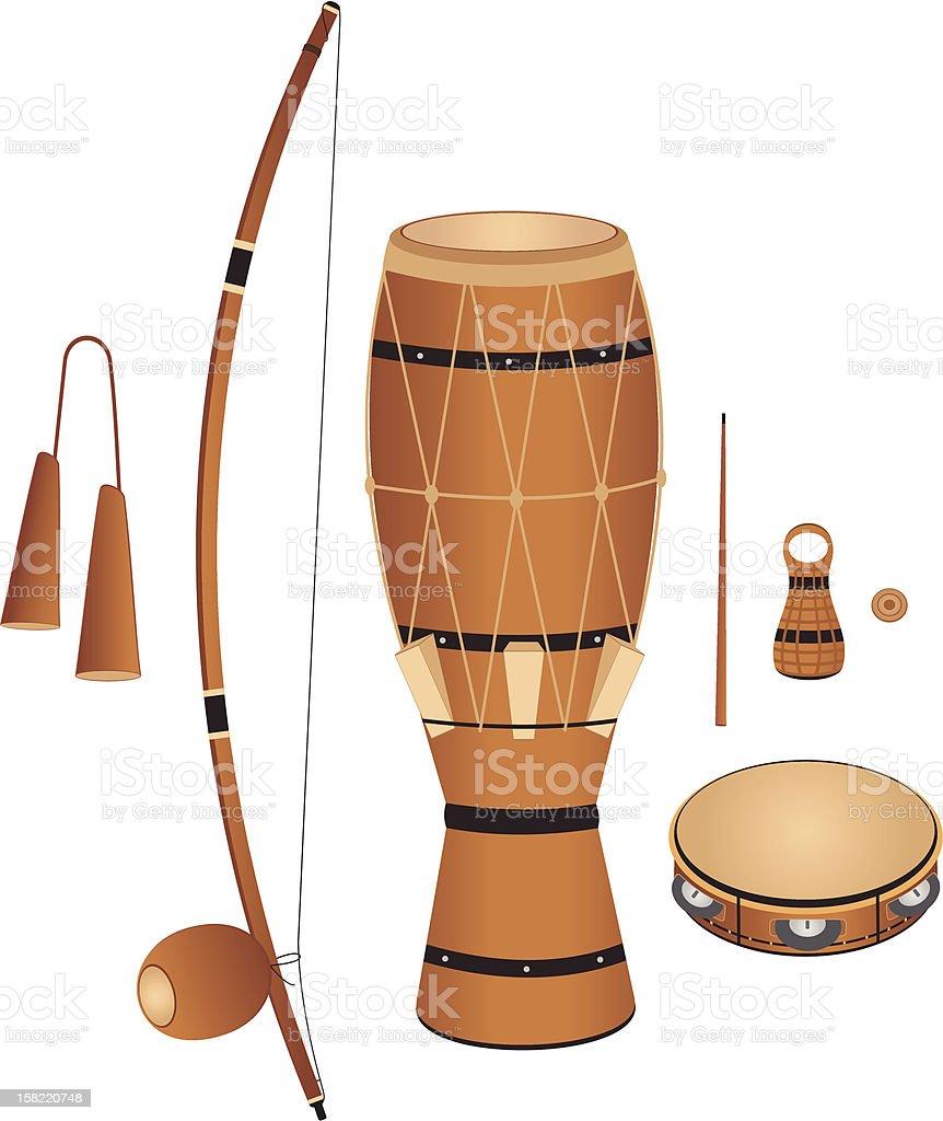 Capoeira Instruments royalty-free stock vector art