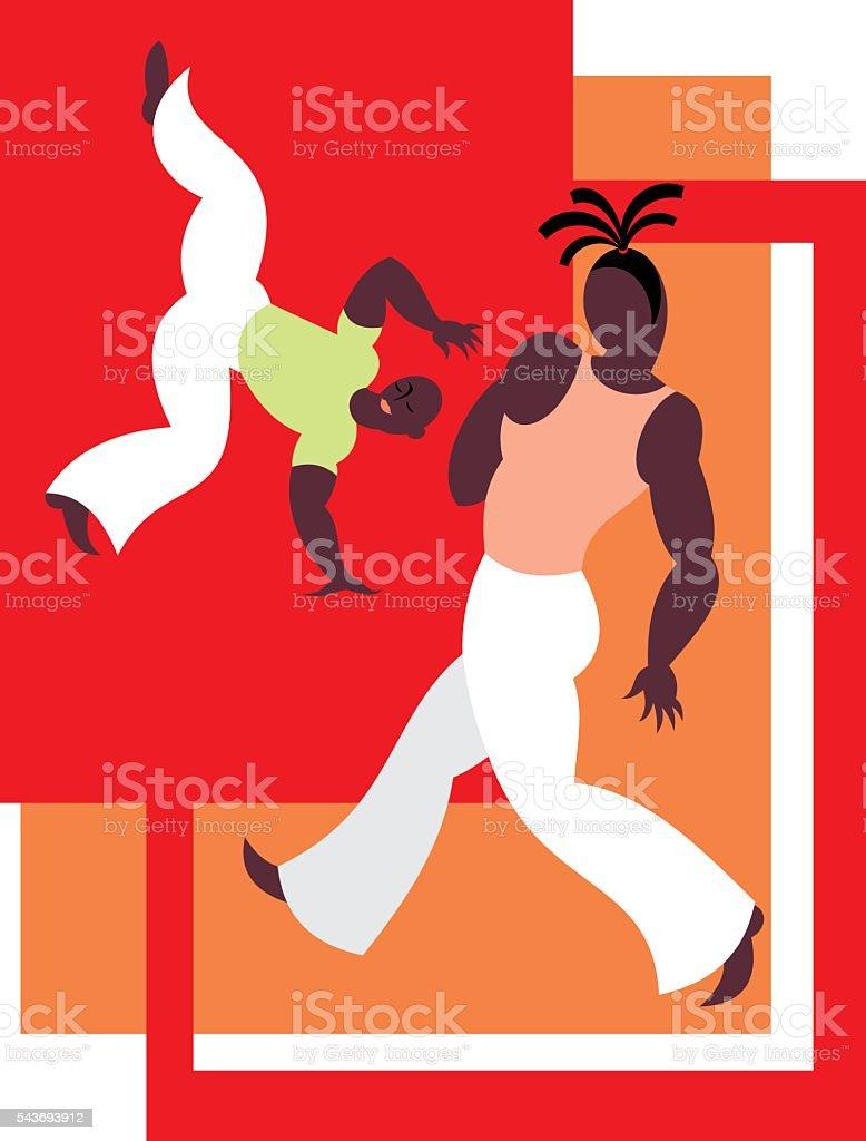 Capoeira martial art vector art illustration