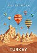 Cappadocia hot air balloon flight. Travel to Turkey. Retro poster, vintage banner. Hand drawing flat vector illustration.