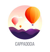 Illustration of a popular turkish travel destination Cappadocia. Balloons in the sky. EPS 10. RGB. Transparencies