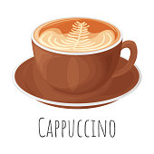 Cappuccino coffee mug cartoon realistic vector illustration, isolated colorful icon.
