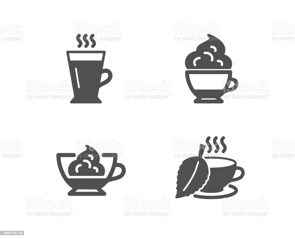 Cappuccino cream, Espresso cream and Latte icons. Mint tea sign. cappuccino cream espresso cream and latte icons mint tea sign - stockowe grafiki wektorowe i więcej obrazów aplikacja mobilna royalty-free
