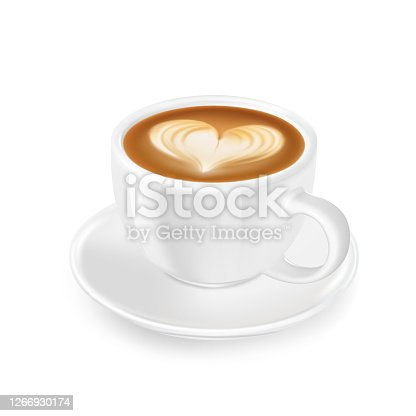 Cappuccino with froth, decorated with heart of milk, in white cup and saucer. Flavored coffee.