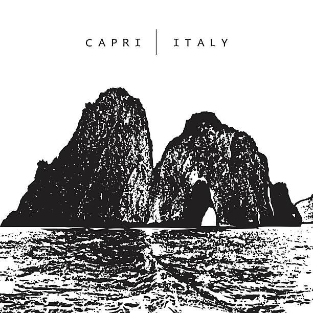 illustrazioni stock, clip art, cartoni animati e icone di tendenza di capri, italy. vector illustration of of the famous place - capri