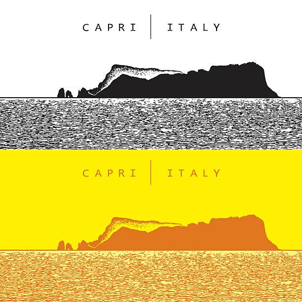 illustrazioni stock, clip art, cartoni animati e icone di tendenza di capri, italy. vector panoramic view of famous island - capri