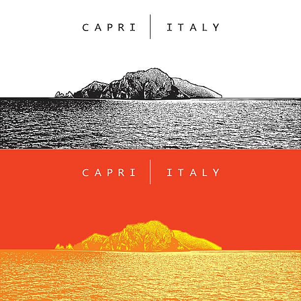 illustrazioni stock, clip art, cartoni animati e icone di tendenza di capri, italy. vector panoramic view of the famous island. - capri