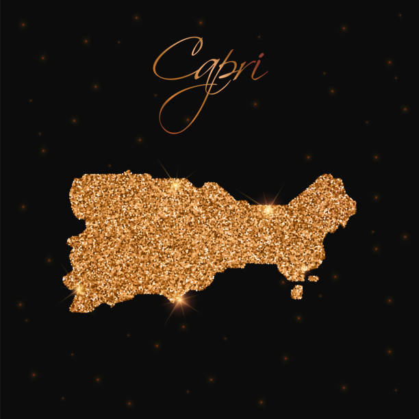 illustrazioni stock, clip art, cartoni animati e icone di tendenza di capri map filled with golden glitter. - capri