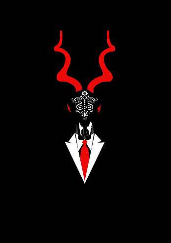 Capriconrn skull head in a suit, abstract backaground