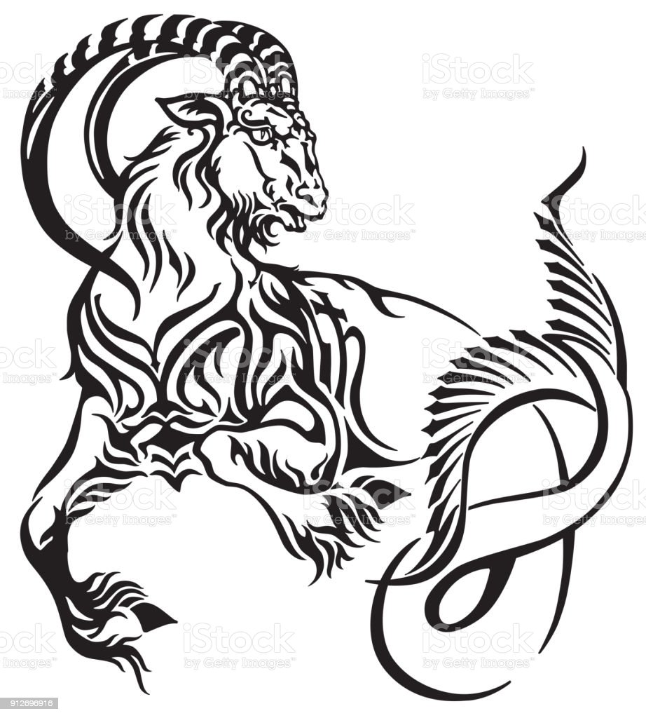 Ilustracion De Signo Capricornio Del Tatuaje Tribal Zodiaco Y Mas