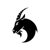 Capricorn zodiac sign black glyph icon. Astrology, horoscope goat silhouette symbol on white space. Domestic cattle, farmland livestock. Herbivore farm animal with horns vector isolated illustration