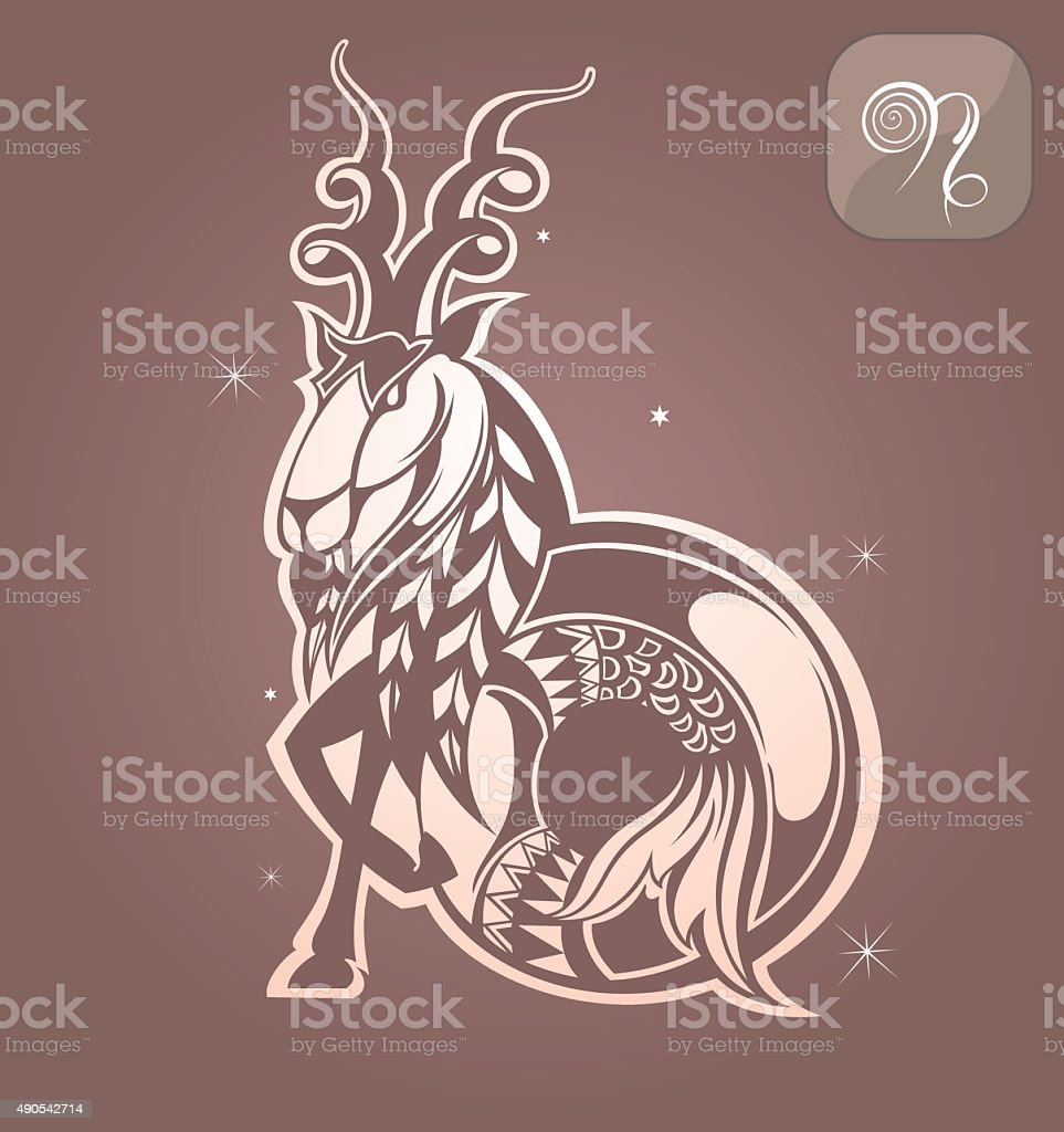 Capricorn zodiac sign vector art illustration