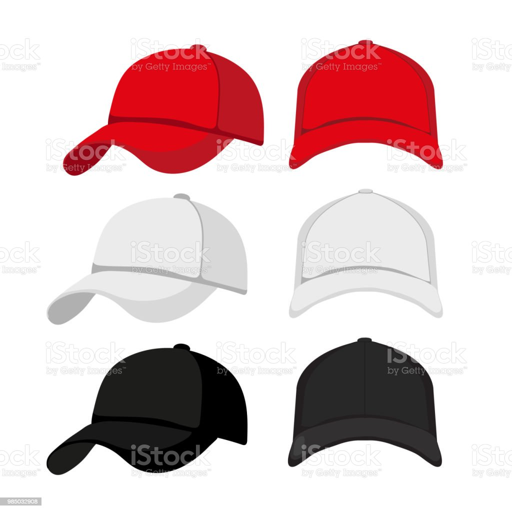 caps mock up collection design vector art illustration