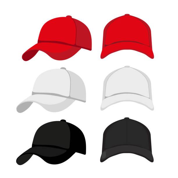 bildbanksillustrationer, clip art samt tecknat material och ikoner med caps håna upp collection design - hatt