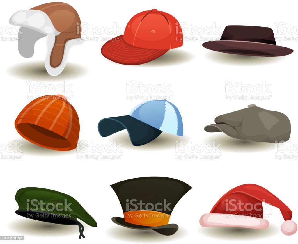 Caps, Top Hats And Other Headwear Set vector art illustration