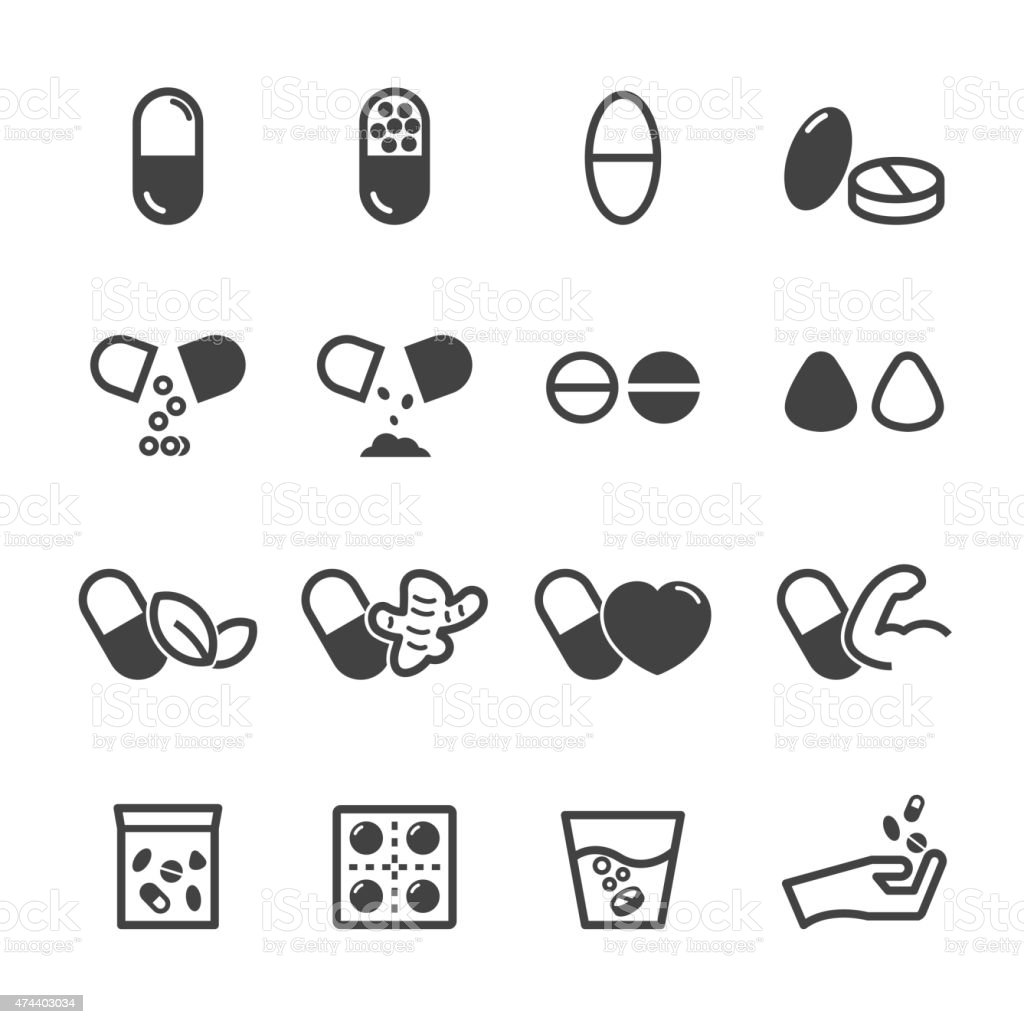 capsule and pill icons vector art illustration
