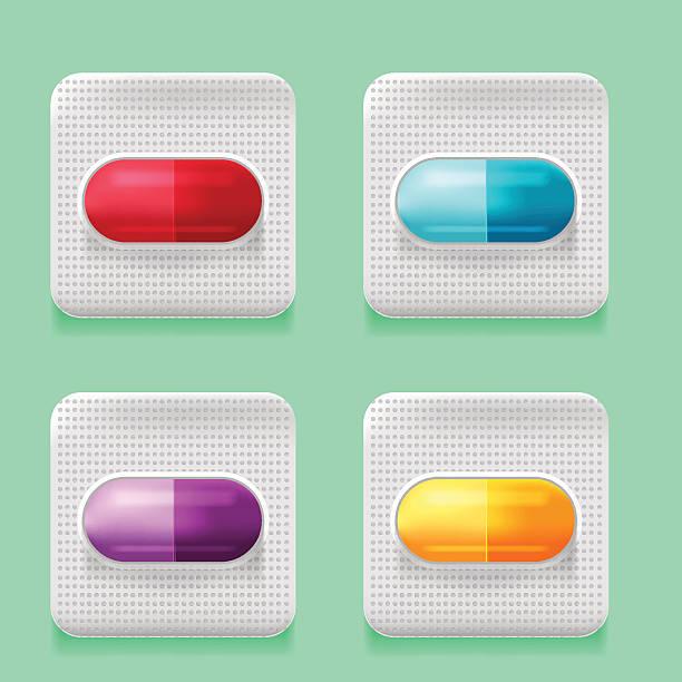 stockillustraties, clipart, cartoons en iconen met capsule medical package design set vector - doordrukstrip