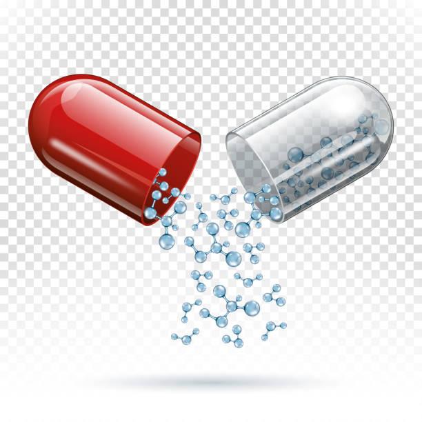 illustrazioni stock, clip art, cartoni animati e icone di tendenza di capsule pill and molecules as medical concept - antibiotico