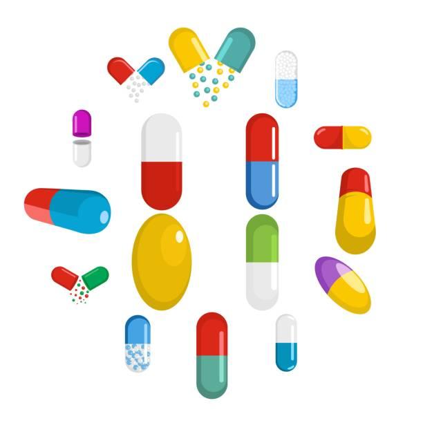 kapsel pille medizin icons set, flachen stil - flat icons stock-grafiken, -clipart, -cartoons und -symbole