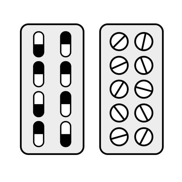 stockillustraties, clipart, cartoons en iconen met capsules en pillen in blaren - doordrukstrip
