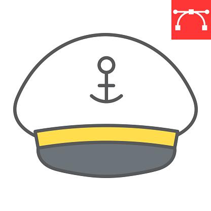 Captain hat color line icon, sea and uniform, captain cap vector icon, vector graphics, editable stroke filled outline sign, eps 10.