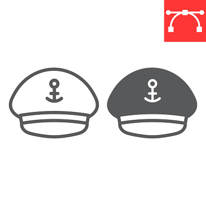 Captain hat line and glyph icon, sea and uniform, captain cap vector icon, vector graphics, editable stroke outline sign, eps 10.