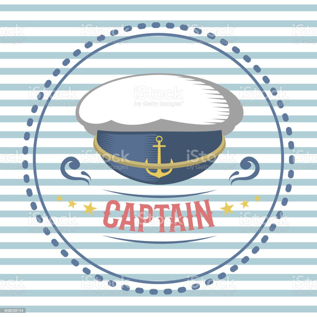 Captain hat nautical and marine sailing themed label vector