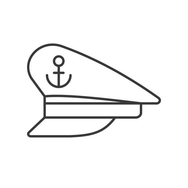 kapitän-hut-übersicht-symbol auf weißem hintergrund - matrosenmütze stock-grafiken, -clipart, -cartoons und -symbole