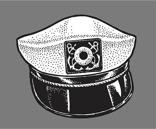 kapitän-hut-skipper auf segeln schiff - matrosenmütze stock-grafiken, -clipart, -cartoons und -symbole