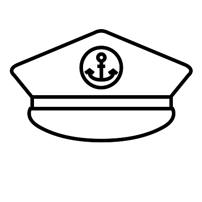 Captain Hat thin line icon isolated on white background