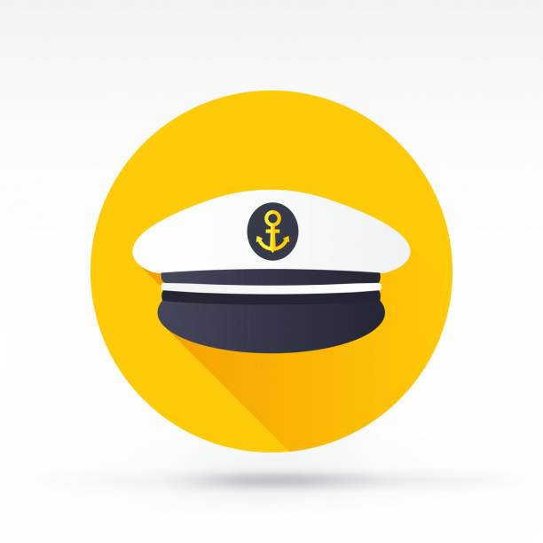Captain Icon Flat style with long shadows, captain cap vector icon uniform cap stock illustrations
