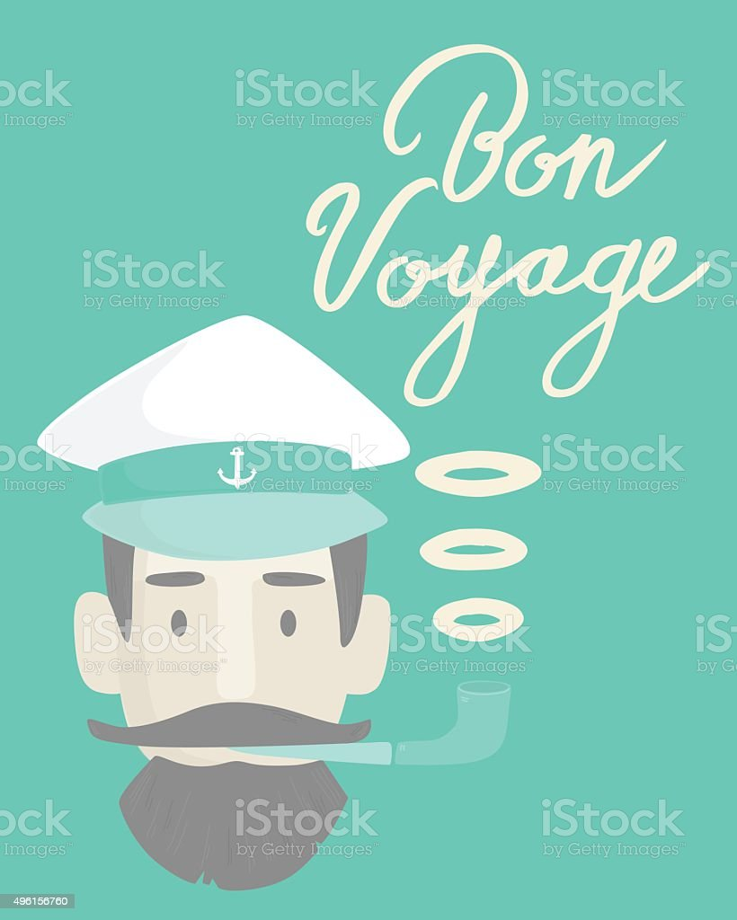 Captain in hat vector art illustration