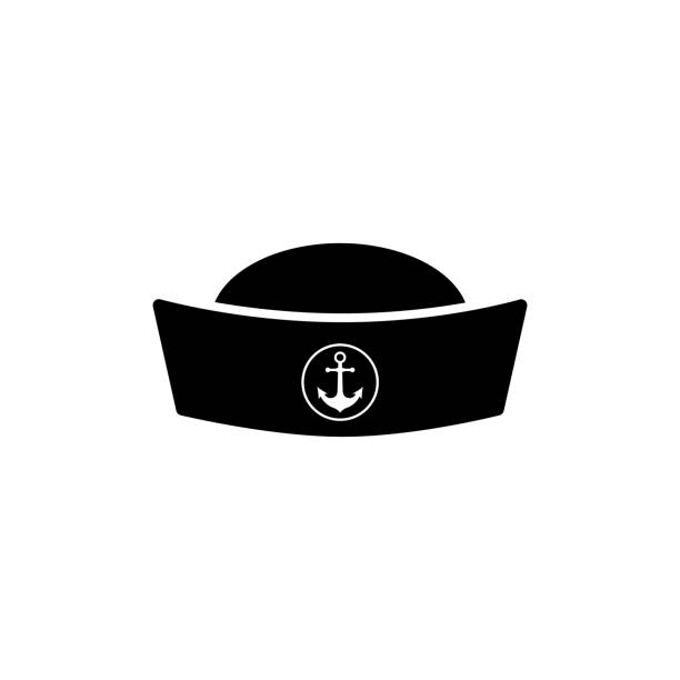 kapitän schnurrbart-rohr-design-element. matrosen mütze symbol auf weißem hintergrund - matrosenmütze stock-grafiken, -clipart, -cartoons und -symbole