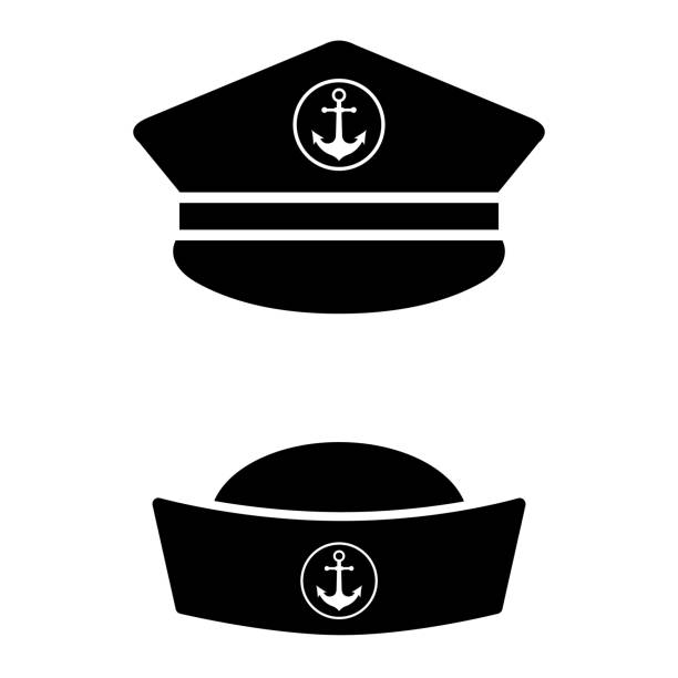 Captain mustache pipe design element. Sailor cap icon on white background Captain mustache pipe design element. Sailor cap icon on white background seyahat noktaları illustrationsları stock illustrations