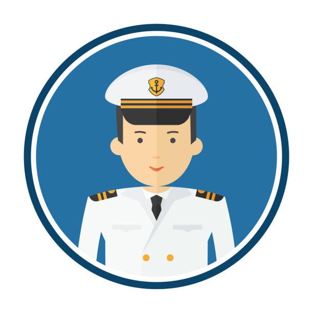 kapitän des schiffes im weißen anzug avatar - matrosenmütze stock-grafiken, -clipart, -cartoons und -symbole
