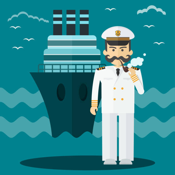 Captain of ship in white suit. vector art illustration