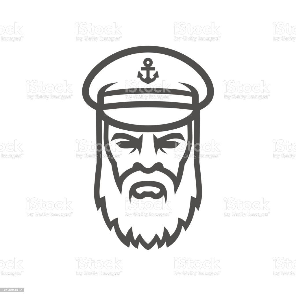 Captain of the ship. Sailor head icon vector art illustration